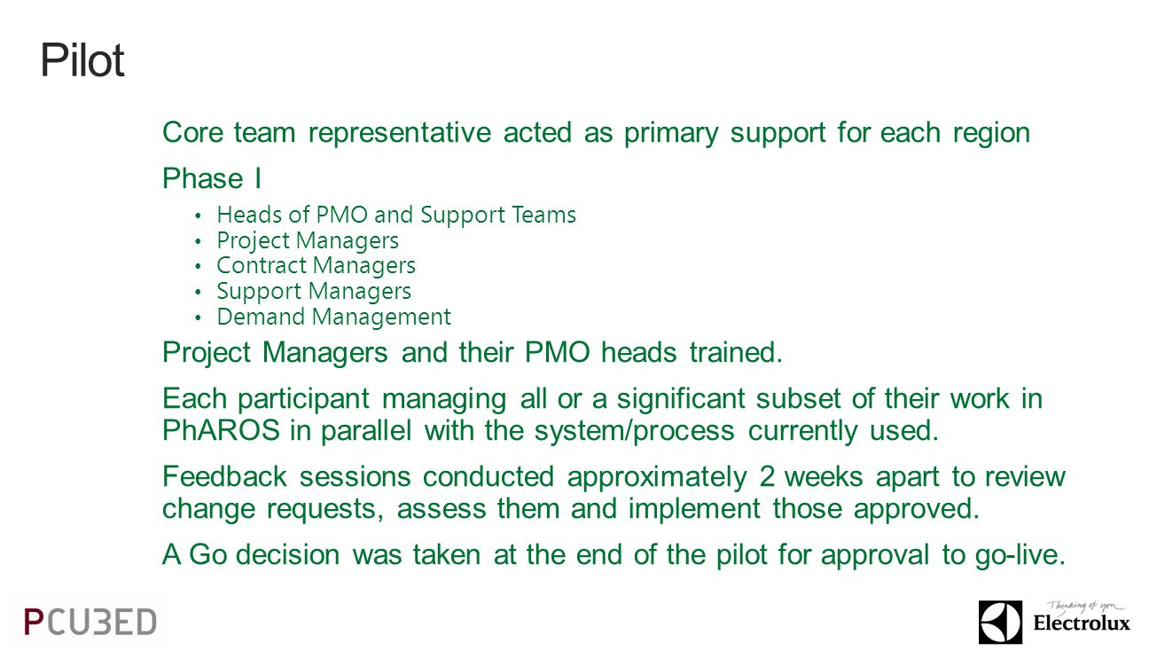 Core team representative acted as primary support for each region Phase I Heads of PMO and Support Teams Project Managers Contract Managers Support Managers Demand Management Project Managers and their PMO heads trained.