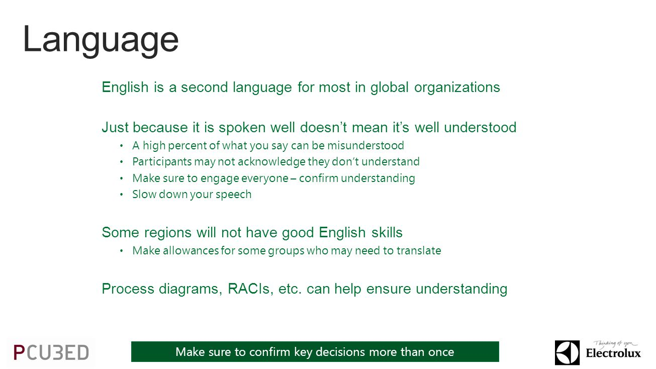 English is a second language for most in global organizations Just because it is spoken well doesnt mean its well understood A high percent of what you say can be misunderstood Participants may not acknowledge they dont understand Make sure to engage everyone – confirm understanding Slow down your speech Some regions will not have good English skills Make allowances for some groups who may need to translate Process diagrams, RACIs, etc.