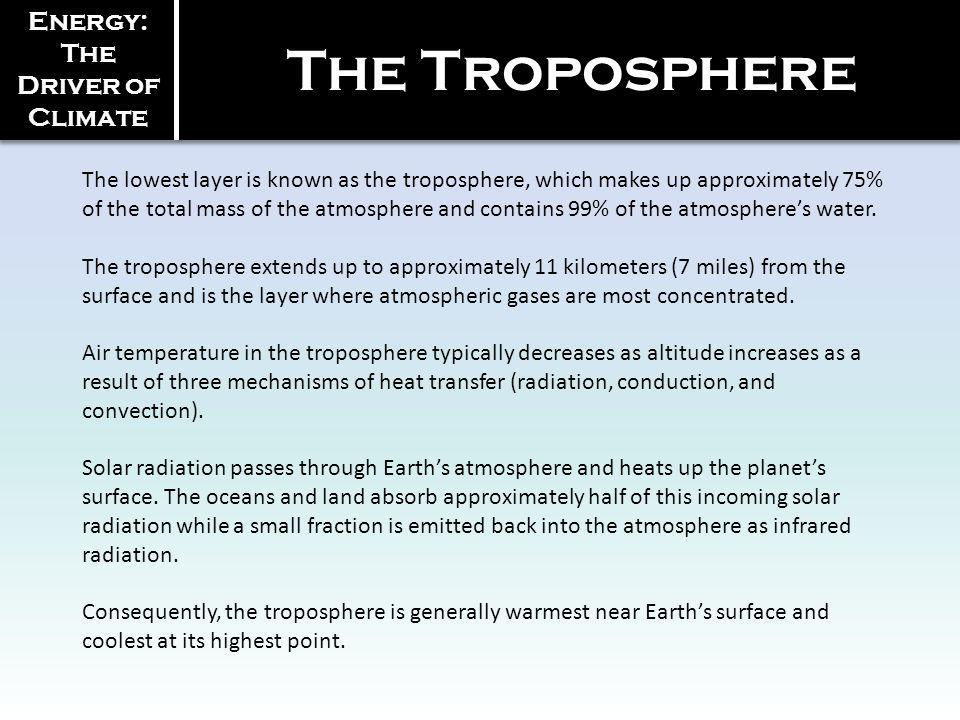 Energy: The Driver of Climate The lowest layer is known as the troposphere, which makes up approximately 75% of the total mass of the atmosphere and c