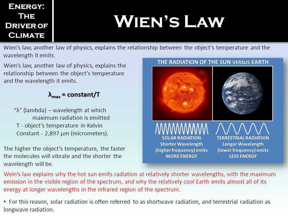 Wiens law, another law of physics, explains the relationship between the objects temperature and the wavelength it emits. Energy: The Driver of Climat