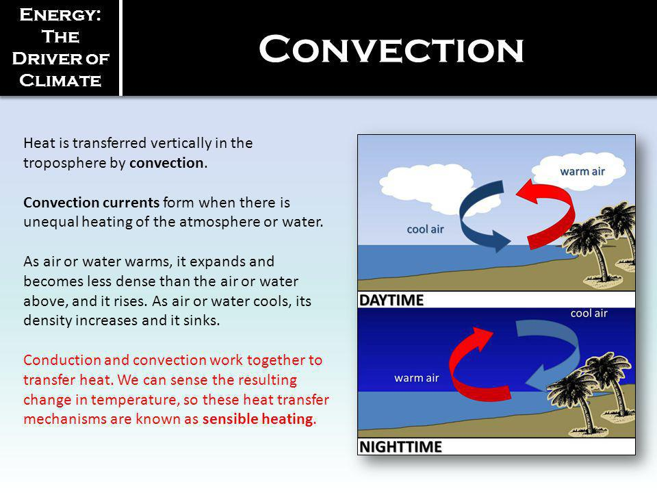 Heat is transferred vertically in the troposphere by convection. Convection currents form when there is unequal heating of the atmosphere or water. As