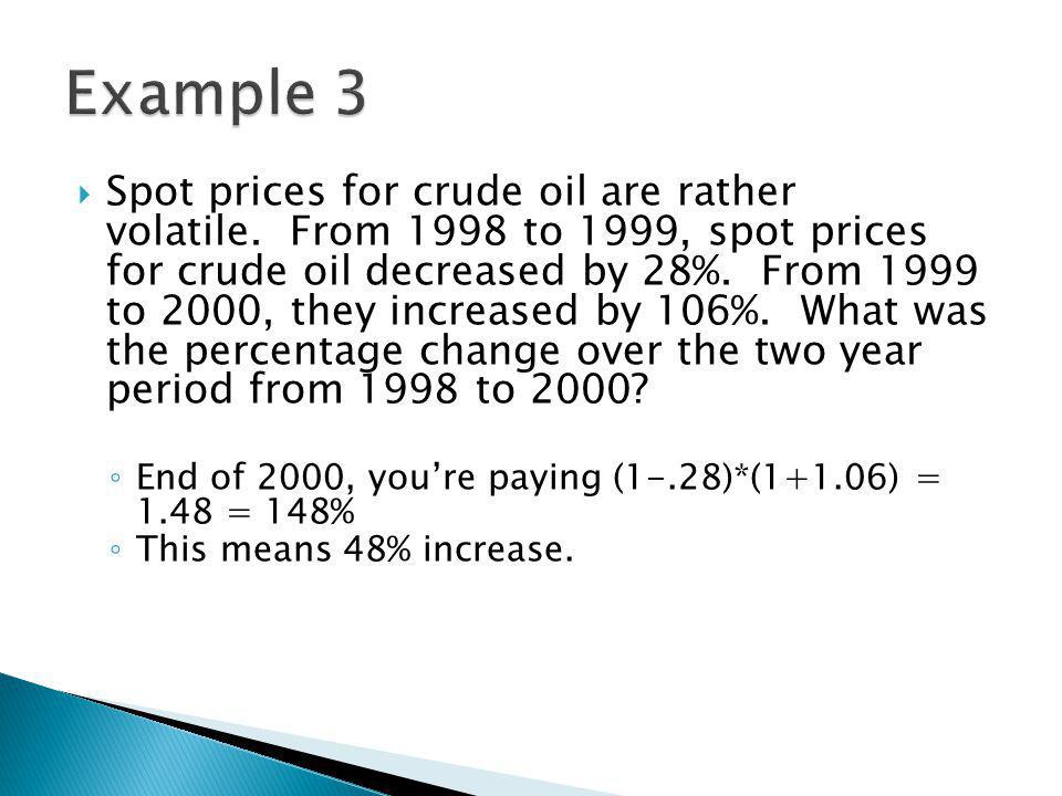 Spot prices for crude oil are rather volatile.