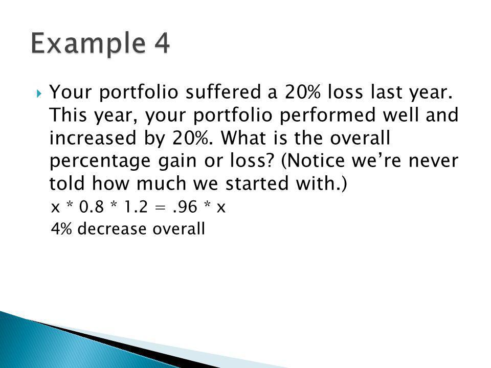 Your portfolio suffered a 20% loss last year.