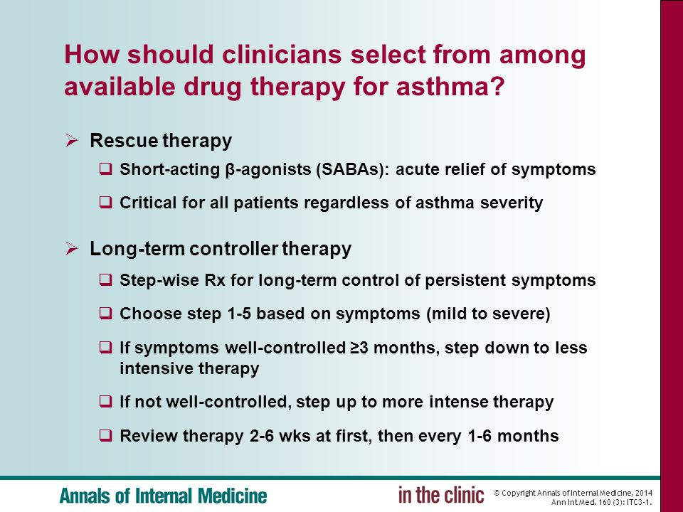 © Copyright Annals of Internal Medicine, 2014 Ann Int Med. 160 (3): ITC3-1. How should clinicians select from among available drug therapy for asthma?