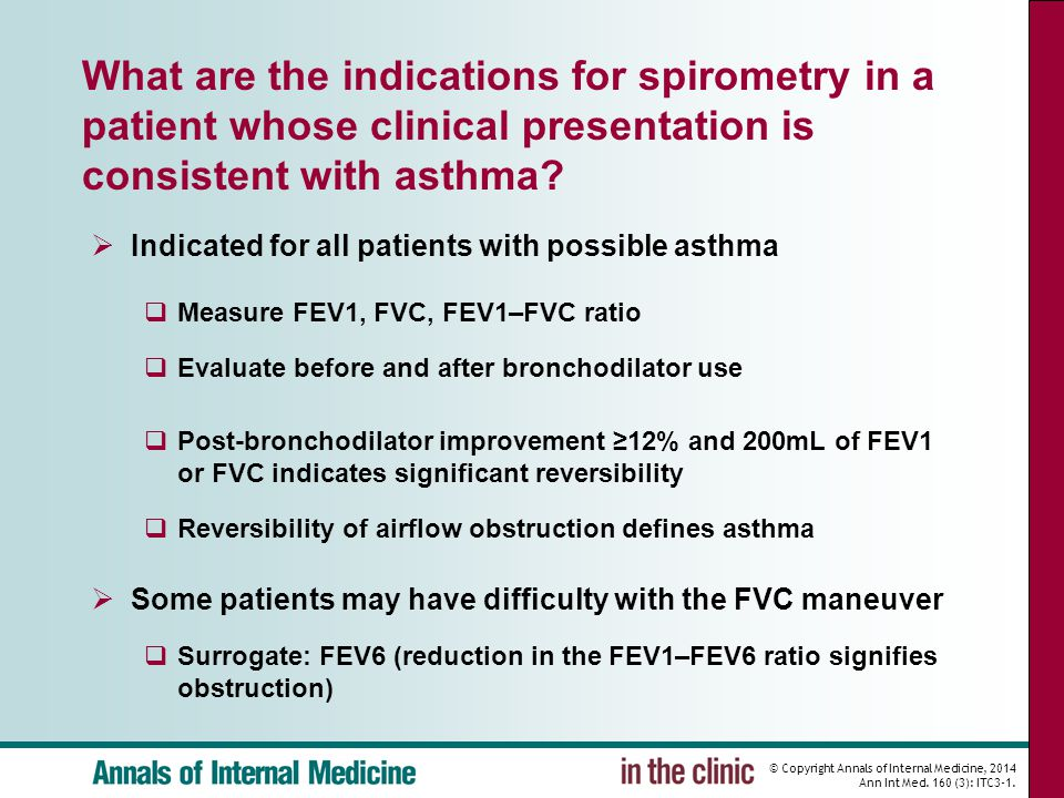 © Copyright Annals of Internal Medicine, 2014 Ann Int Med. 160 (3): ITC3-1. What are the indications for spirometry in a patient whose clinical presen