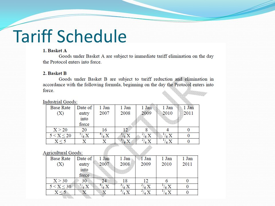 Tariff Schedule