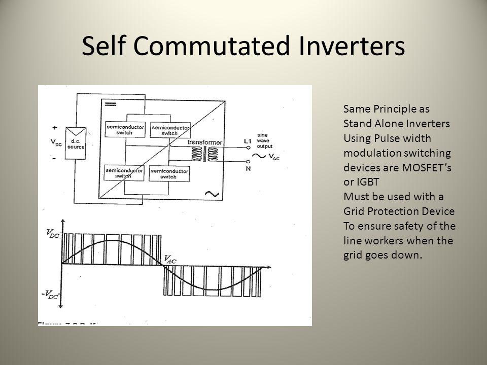 Self Commutated Inverters Same Principle as Stand Alone Inverters Using Pulse width modulation switching devices are MOSFETs or IGBT Must be used with