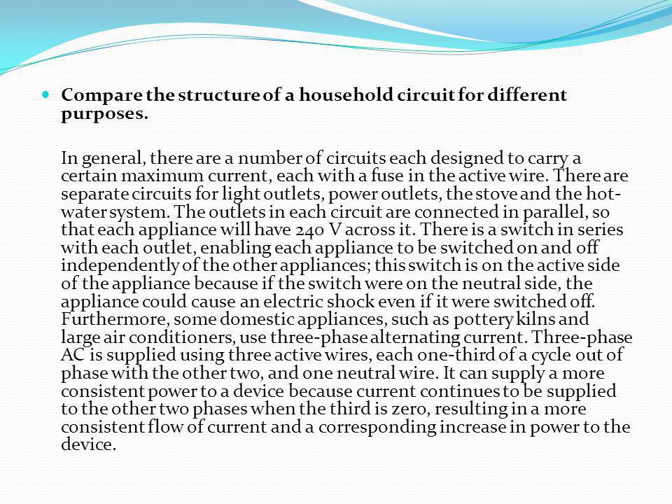 Compare the structure of a household circuit for different purposes. In general, there are a number of circuits each designed to carry a certain maxim