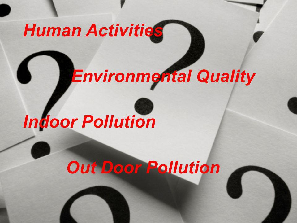 Human Activities Environmental Quality Indoor Pollution Out Door Pollution