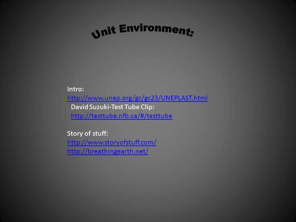 Intro: http://www.unep.org/gc/gc23/UNEPLAST.html David Suzuki-Test Tube Clip: http://testtube.nfb.ca/#/testtube Story of stuff: http://www.storyofstuf