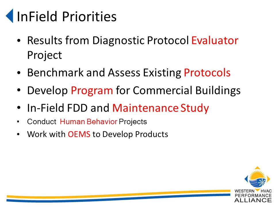 InField Priorities Results from Diagnostic Protocol Evaluator Project Benchmark and Assess Existing Protocols Develop Program for Commercial Buildings In-Field FDD and Maintenance Study Conduct Human Behavior Projects Work with OEMS to Develop Products