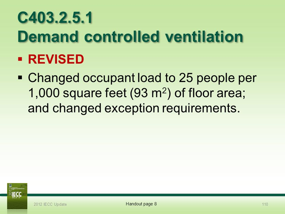 C403.2.5.1 Demand controlled ventilation REVISED Changed occupant load to 25 people per 1,000 square feet (93 m 2 ) of floor area; and changed exception requirements.