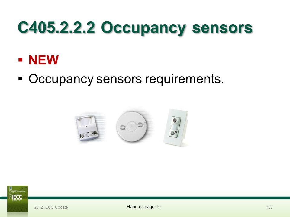 C405.2.2.2 Occupancy sensors NEW Occupancy sensors requirements. 2012 IECC Update133 Handout page 10