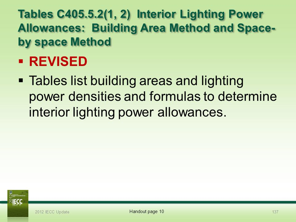 Tables C405.5.2(1, 2) Interior Lighting Power Allowances: Building Area Method and Space- by space Method REVISED Tables list building areas and lighting power densities and formulas to determine interior lighting power allowances.