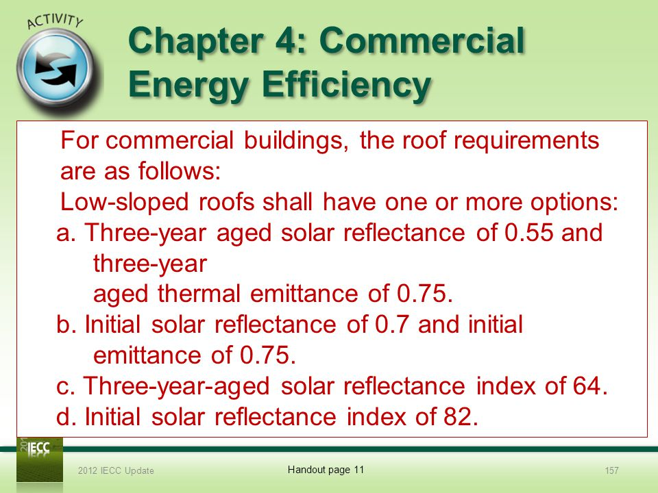 Chapter 4: Commercial Energy Efficiency 7.List the roof requirements for a commercial building in this code.