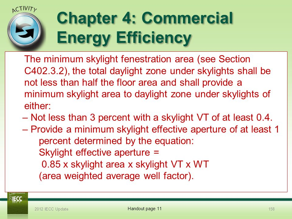Chapter 4: Commercial Energy Efficiency 8.What is the minimum skylight fenestration area.