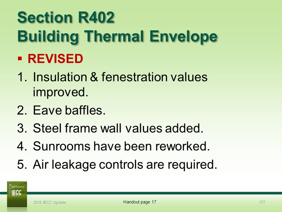 Section R402 Building Thermal Envelope REVISED 1.Insulation & fenestration values improved.