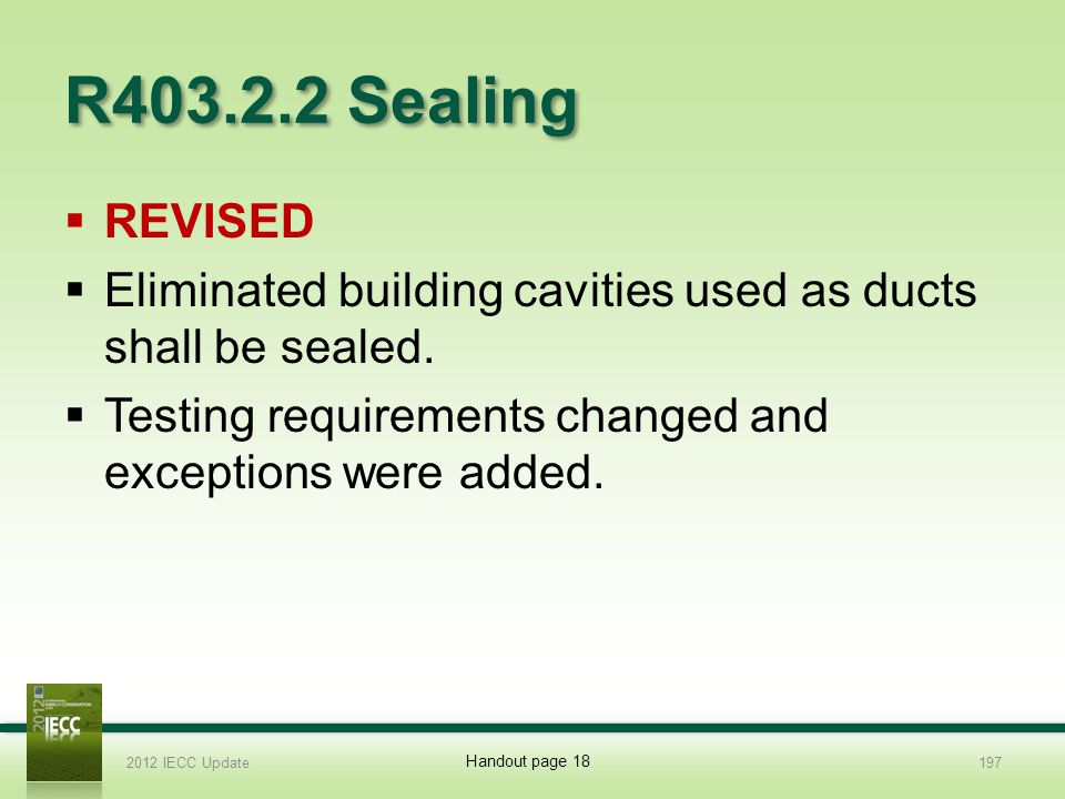 R403.2.2 Sealing REVISED Eliminated building cavities used as ducts shall be sealed.