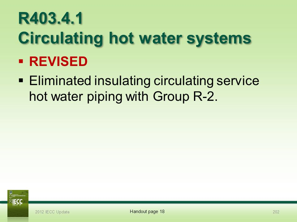 R403.4.1 Circulating hot water systems REVISED Eliminated insulating circulating service hot water piping with Group R-2.