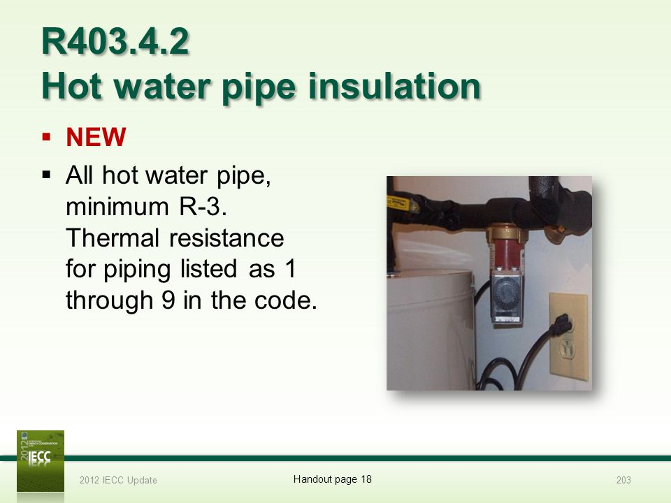 R403.4.2 Hot water pipe insulation NEW All hot water pipe, minimum R-3.