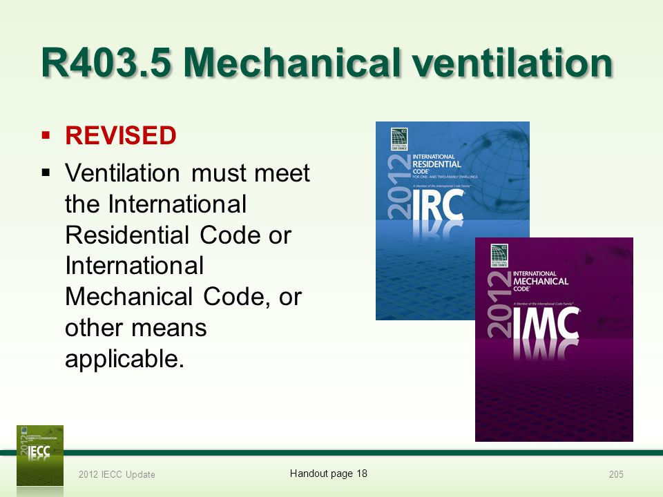 R403.5 Mechanical ventilation REVISED Ventilation must meet the International Residential Code or International Mechanical Code, or other means applicable.