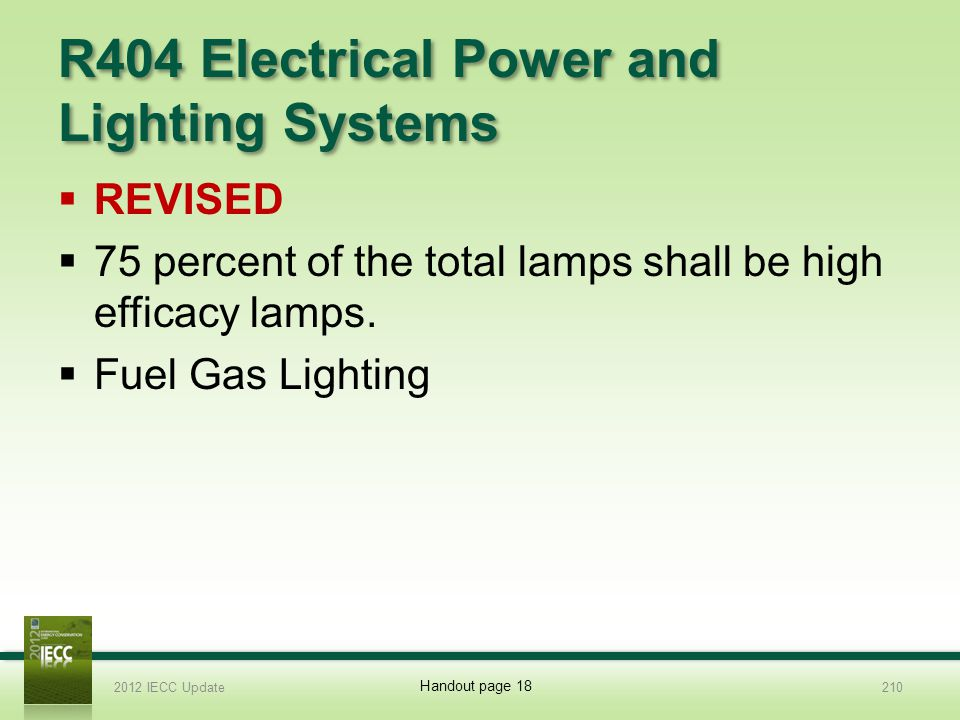 R404 Electrical Power and Lighting Systems REVISED 75 percent of the total lamps shall be high efficacy lamps.