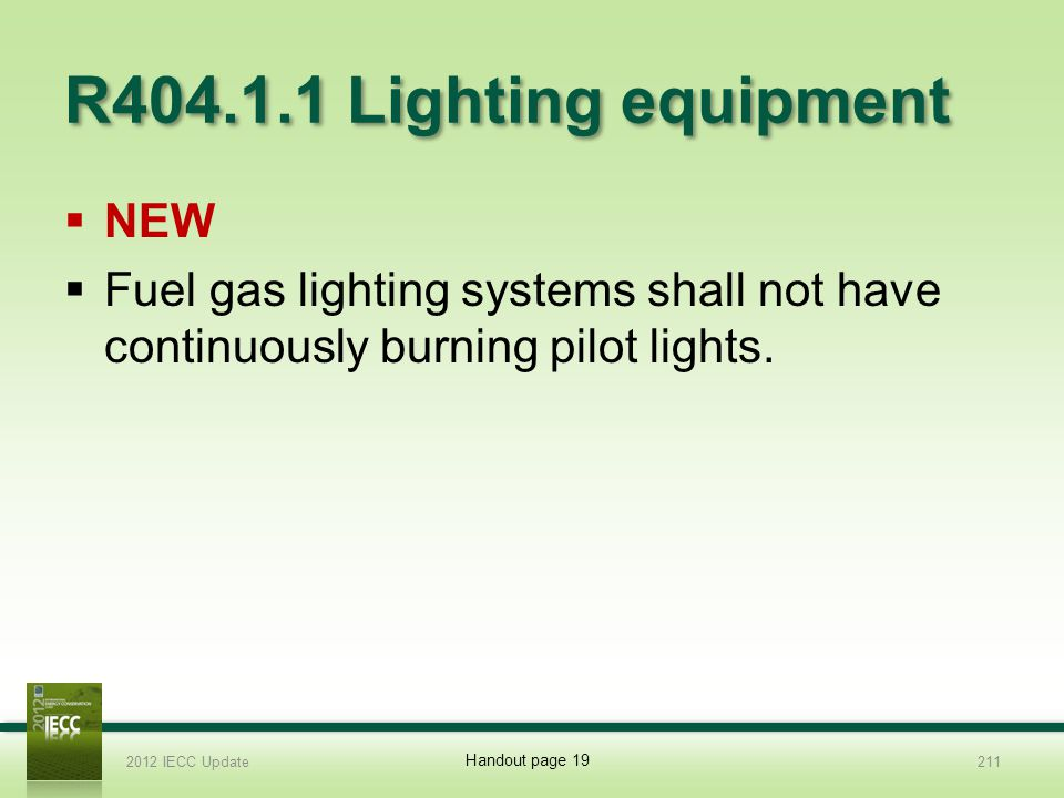 R404.1.1 Lighting equipment NEW Fuel gas lighting systems shall not have continuously burning pilot lights.