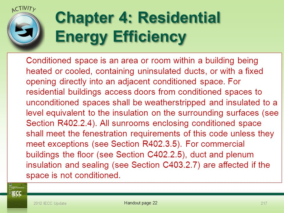 Chapter 4: Residential Energy Efficiency 13.Explain conditioned space and how it affects residential and commercial buildings.