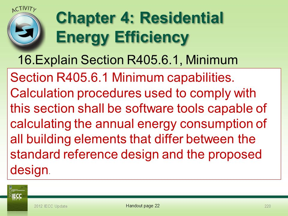 Chapter 4: Residential Energy Efficiency 16.Explain Section R405.6.1, Minimum capabilities 2012 IECC Update220 Handout page 22 Section R405.6.1 Minimum capabilities.