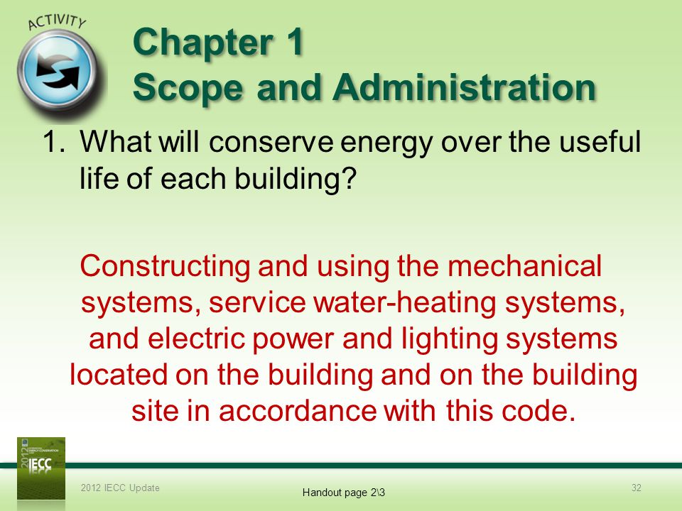 Chapter 1 Scope and Administration 1.What will conserve energy over the useful life of each building.