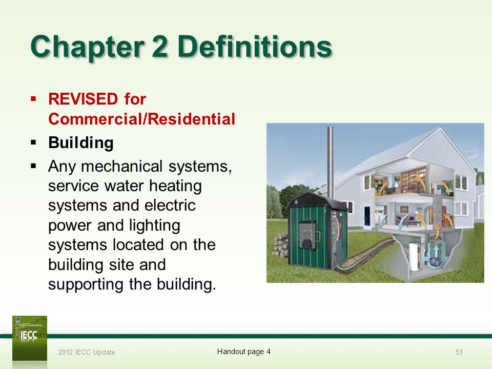 Chapter 2 Definitions REVISED for Commercial/Residential Building Any mechanical systems, service water heating systems and electric power and lighting systems located on the building site and supporting the building.