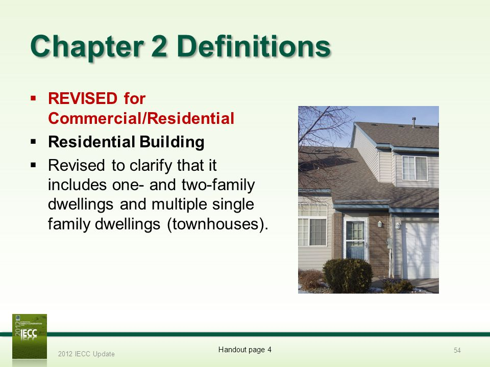 Chapter 2 Definitions REVISED for Commercial/Residential Residential Building Revised to clarify that it includes one- and two-family dwellings and multiple single family dwellings (townhouses).