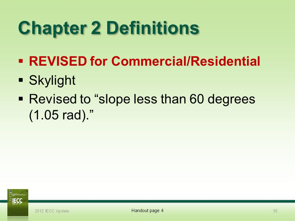 Chapter 2 Definitions REVISED for Commercial/Residential Skylight Revised to slope less than 60 degrees (1.05 rad).