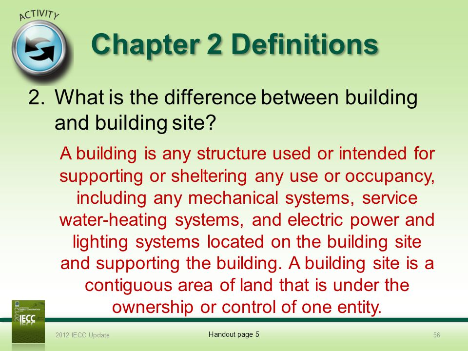 Chapter 2 Definitions 2.What is the difference between building and building site.