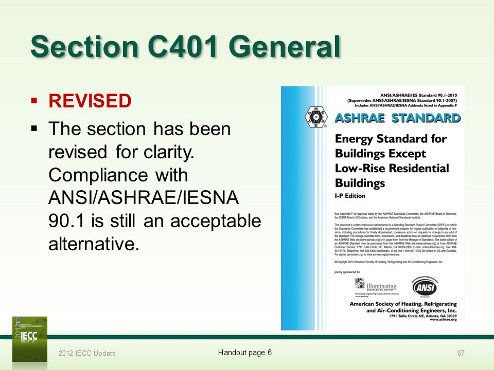 Section C401 General REVISED The section has been revised for clarity.