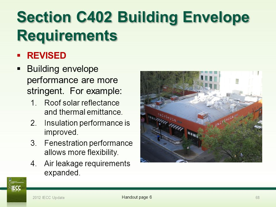 Section C402 Building Envelope Requirements REVISED Building envelope performance are more stringent.