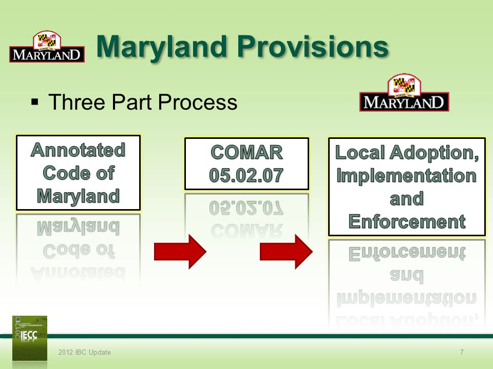 Maryland Provisions Three Part Process 2012 IBC Update7