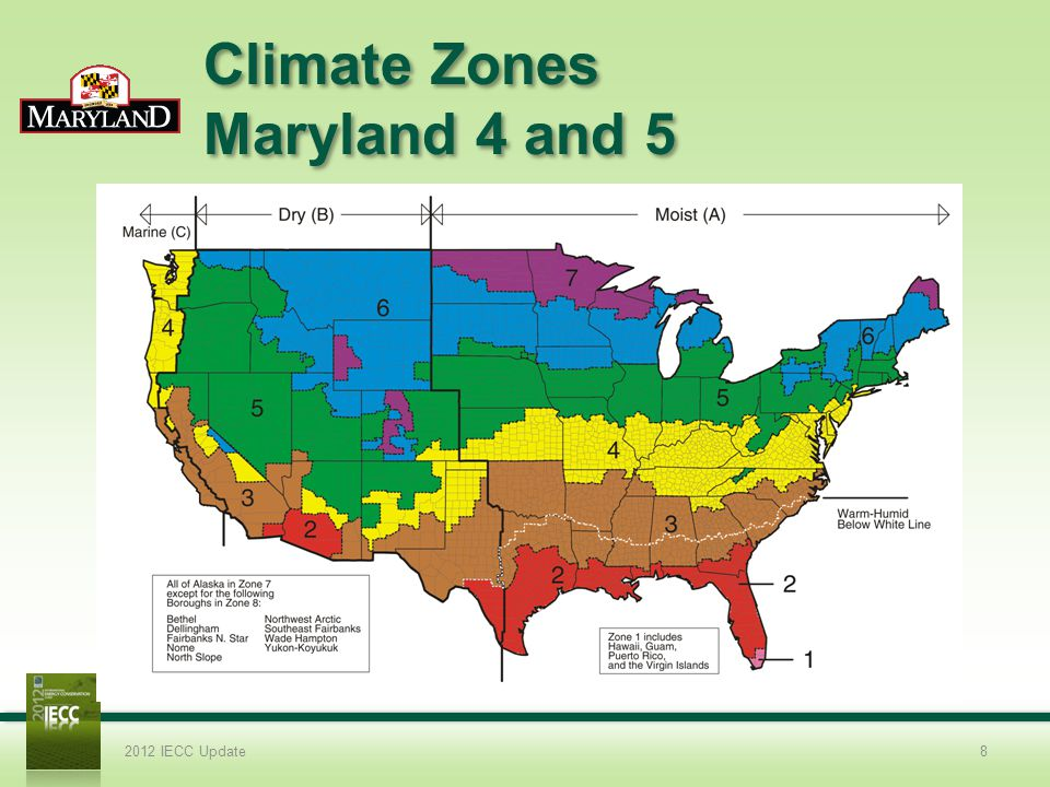 Climate Zones Maryland 4 and 5 2012 IECC Update8