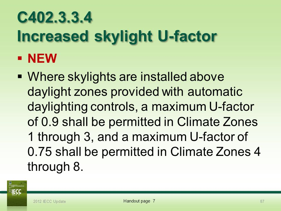 C402.3.3.4 Increased skylight U-factor NEW Where skylights are installed above daylight zones provided with automatic daylighting controls, a maximum U-factor of 0.9 shall be permitted in Climate Zones 1 through 3, and a maximum U-factor of 0.75 shall be permitted in Climate Zones 4 through 8.