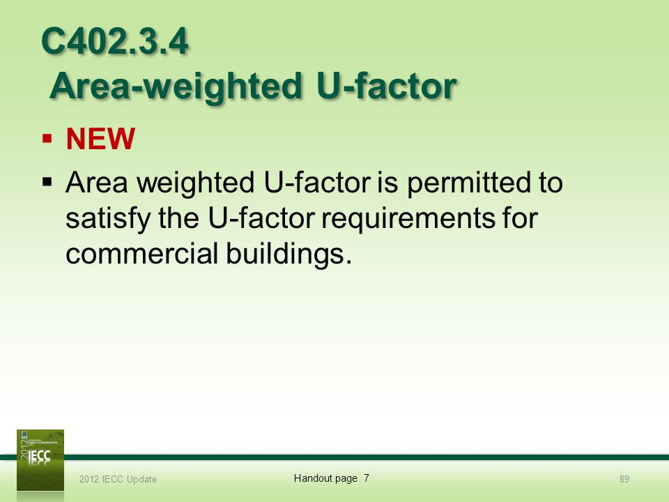 C402.3.4 Area-weighted U-factor NEW Area weighted U-factor is permitted to satisfy the U-factor requirements for commercial buildings.