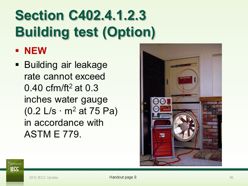 Section C402.4.1.2.3 Building test (Option) NEW Building air leakage rate cannot exceed 0.40 cfm/ft 2 at 0.3 inches water gauge (0.2 L/s · m 2 at 75 Pa) in accordance with ASTM E 779.
