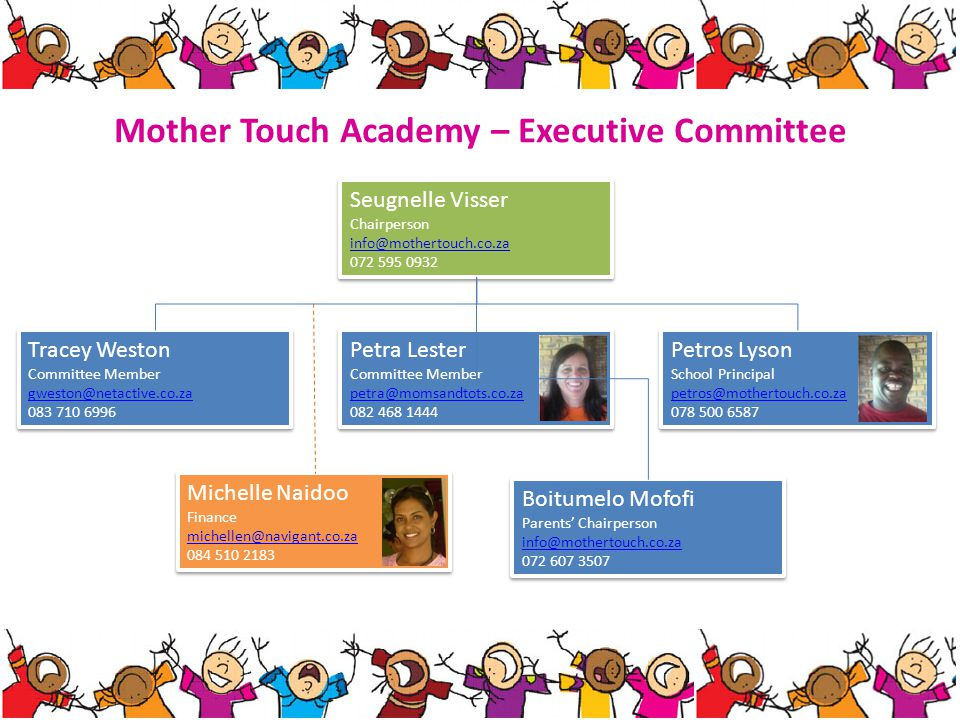 Mother Touch Academy – Executive Committee Seugnelle Visser Chairperson info@mothertouch.co.za 072 595 0932 Seugnelle Visser Chairperson info@mothertouch.co.za 072 595 0932 Tracey Weston Committee Member gweston@netactive.co.za 083 710 6996 Tracey Weston Committee Member gweston@netactive.co.za 083 710 6996 Petra Lester Committee Member petra@momsandtots.co.za 082 468 1444 Petra Lester Committee Member petra@momsandtots.co.za 082 468 1444 Petros Lyson School Principal petros@mothertouch.co.za 078 500 6587 Petros Lyson School Principal petros@mothertouch.co.za 078 500 6587 Michelle Naidoo Finance michellen@navigant.co.za 084 510 2183 Michelle Naidoo Finance michellen@navigant.co.za 084 510 2183 Boitumelo Mofofi Parents Chairperson info@mothertouch.co.za 072 607 3507 Boitumelo Mofofi Parents Chairperson info@mothertouch.co.za 072 607 3507