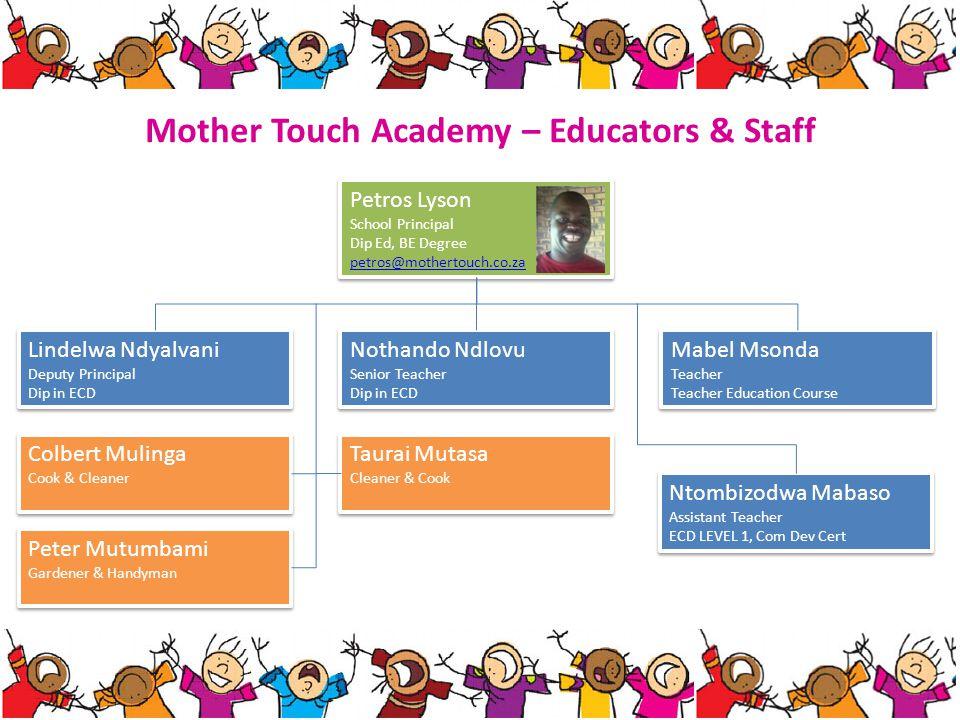Mother Touch Academy – Educators & Staff Petros Lyson School Principal Dip Ed, BE Degree petros@mothertouch.co.za Petros Lyson School Principal Dip Ed