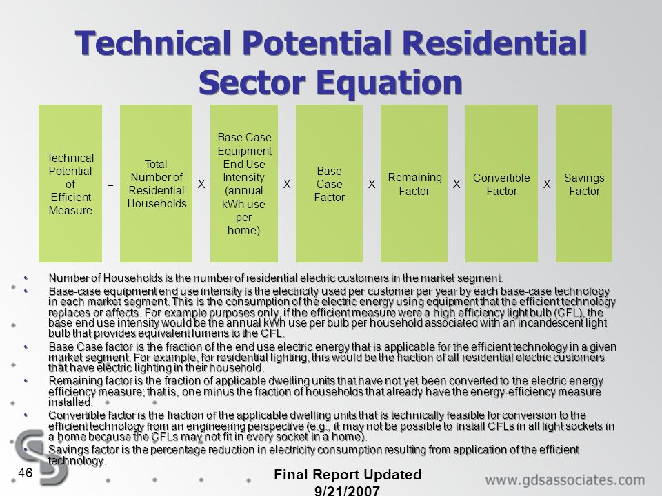 Final Report Updated 9/21/2007 46 Technical Potential Residential Sector Equation Number of Households is the number of residential electric customers