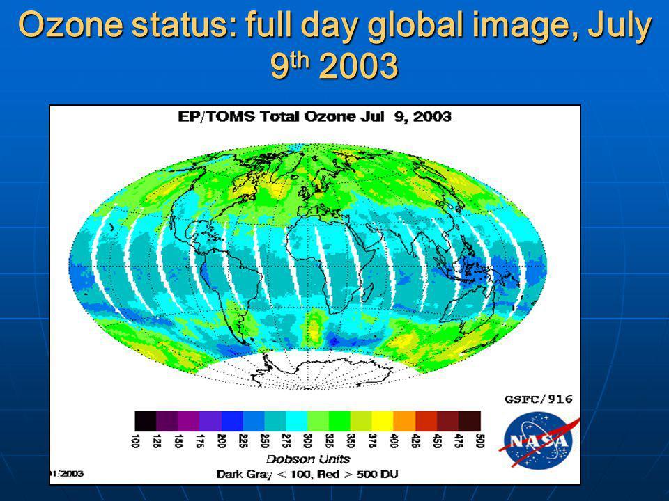 Ozone status: full day global image, July 9 th 2003