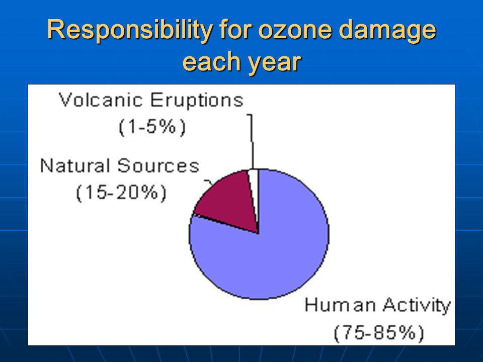 Responsibility for ozone damage each year
