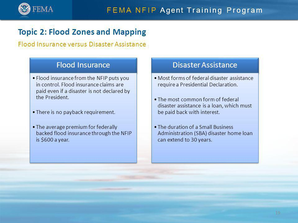 FEMA NFIP Agent Training Program Flood Insurance versus Disaster Assistance Topic 2: Flood Zones and Mapping Flood Insurance Flood insurance from the NFIP puts you in control.