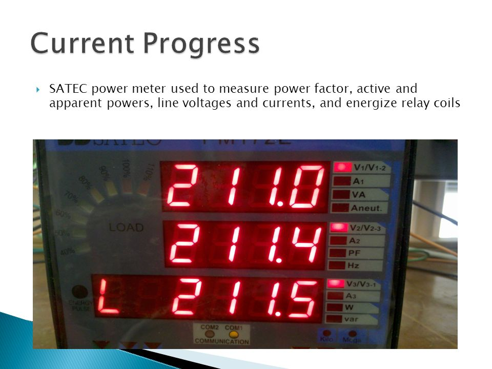 SATEC power meter used to measure power factor, active and apparent powers, line voltages and currents, and energize relay coils