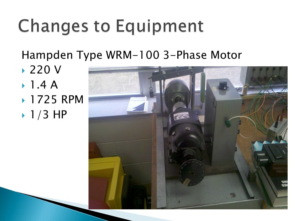 Hampden Type WRM-100 3-Phase Motor 220 V 1.4 A 1725 RPM 1/3 HP