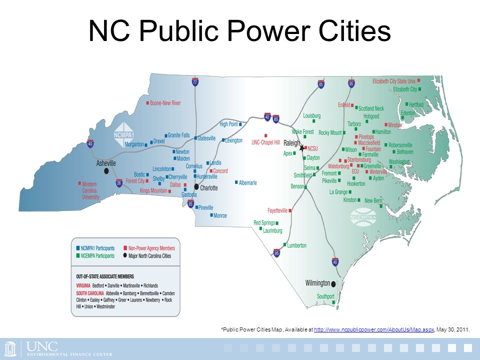 NC Public Power Cities *Public Power Cities Map, Available at http://www.ncpublicpower.com/AboutUs/Map.aspx, May 30, 2011.http://www.ncpublicpower.com